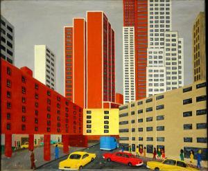 Enseignes à New York, 1970, Maurice Loirand - 41 x 26 cm,  huile sur toile, collection particulière, crédit photo Kenji Akatsuka