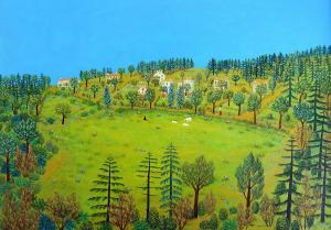 L'odeur du printemps en Corse, 1980, Maurice Loirand - 130 x 90 cm,  huile sur toile, collection particulière, crédit photo Kenji Akatsuka