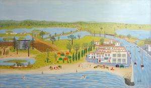 Palavas les flots, 1959-60 Maurice Loirand - 195 x 115 cm,  huile sur toile, collection particulière, crédit photo Kenji Akatsuka